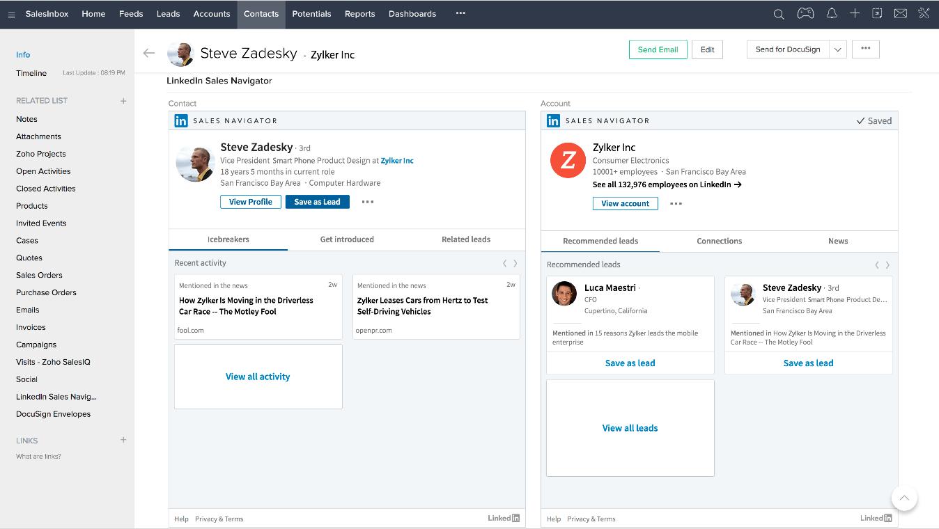 LinkedIn Sales Navigator Zoho CRM Integration